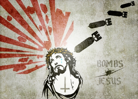 Mural of Christ's tears over the bombs of war